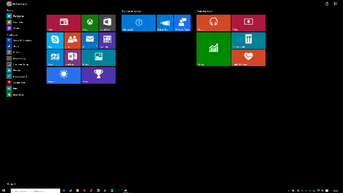 Windows 10 Start Screen Build 9926