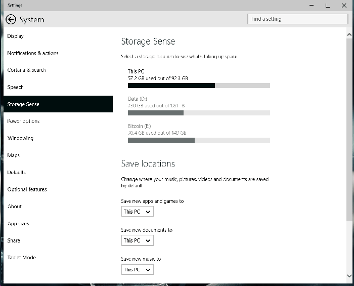 Windows 10 Storage Sense Build 9926